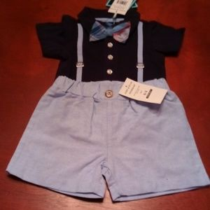 Andy & Evan infant boys polo shirtzie and shorts